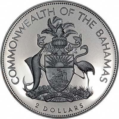 Obverse of 1994 Bahamas Silver Proof 2 Dollars