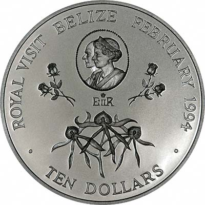 Reverse of 1994 Belize Royal Visit Silver Proof $10 Coin