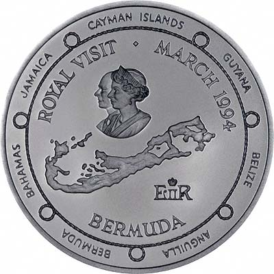 Reverse on 1994 Bermuda Royal Visit Silver Proof $2 Coin
