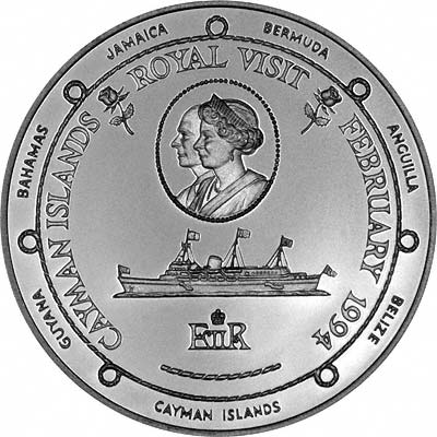 Royal Yacht Britannia & Roses on Reverse on 1994 Cayman Islands Royal Visit Silver Proof $1 Coin