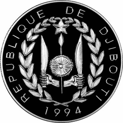 Obverse of 1994 Djibouti Silver Proof 100 Francs