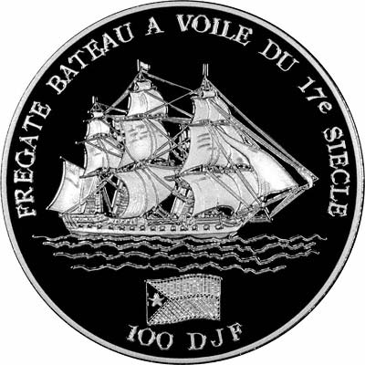 Sailing Ship on Reverse of 1994 Djibouti Silver Proof 100 Francs