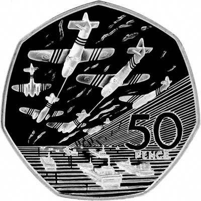 Reverse of 1994 D-Day Commemorative 50 Pence Silver Proof