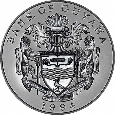 'Bank of Guyana' & Coat of Arms on Obverse of 1994 Guyana Silver Proof 50 Dollars
