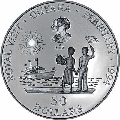 Guyanan Couple Welcome Royal Yacht Britannia on Reverse of 1994 Guyana Silver Proof 50 Dollars