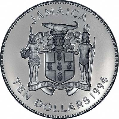 Obverse of 1994 Jamaican Silver Proof 10 Dollars