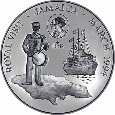 Royal Visit Theme on Reverse of 1994 Jamaican Silver Proof 10 Dollars