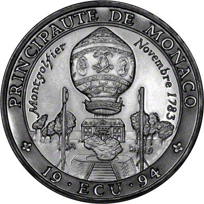 Obverse of 1994 Monaco 1 Ecu
