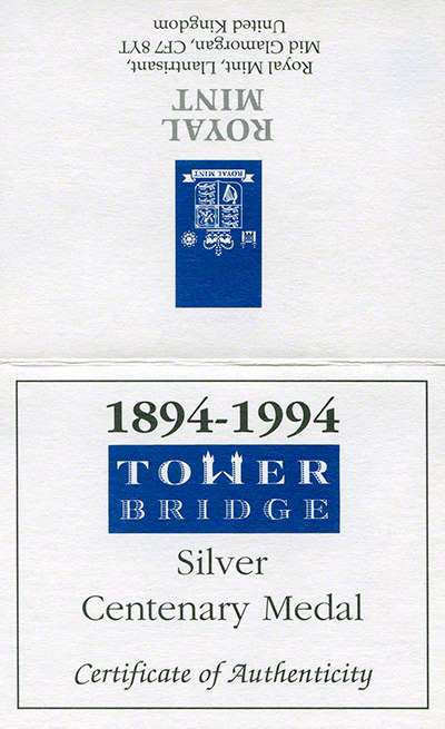 1994 Tower Bridge Silver Medallion Certificate Obverse