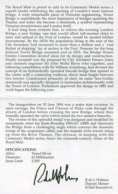 1994 Tower Bridge Silver Medallion Certificate Reverse