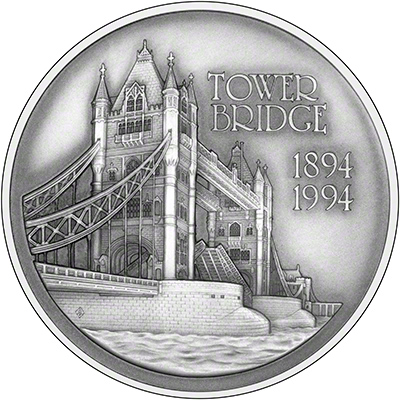 1994 Tower Bridge Silver Medallion Reverse