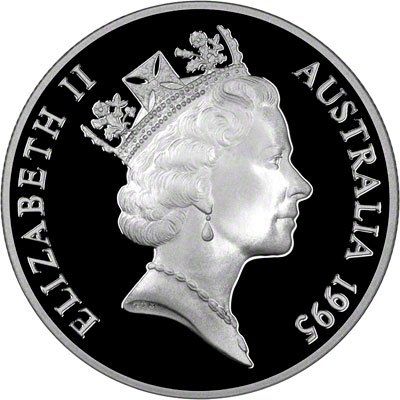 Obverse of 1995 Australia Silver Proof Ten Dollars