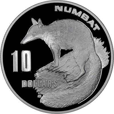 Reverse of 1995 Australia Silver Proof Ten Dollars - Numbat