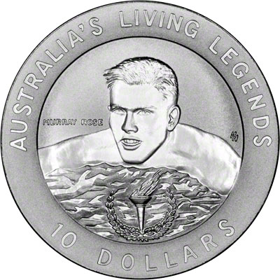 Reverse of 1995 Australia Silver Proof Ten Dollars - Murray Rose
