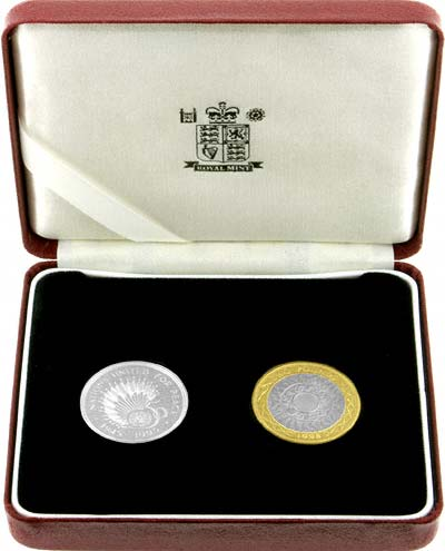 1995 and 1998 Silver Proof Piedfort Two Coin Set