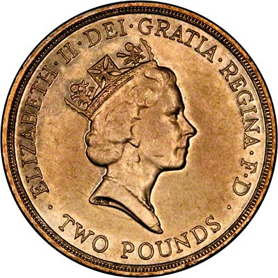 Obverse of 1995 Ordinary Circulation Two Pound Coin