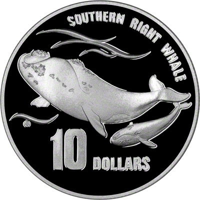 Reverse of 1996 Australia Silver Proof Ten Dollars - Southern Right Whales