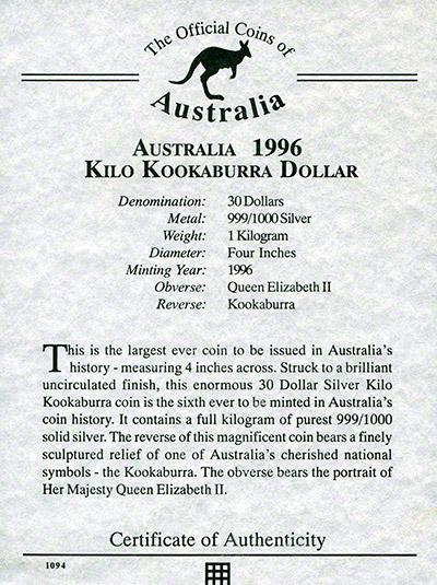 Australian Silver Kookaburra Coins 1996