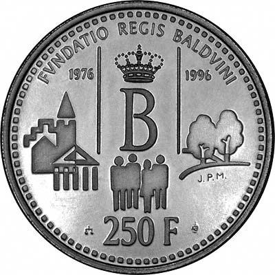 Reverse of 1996 Belgian 250 Francs