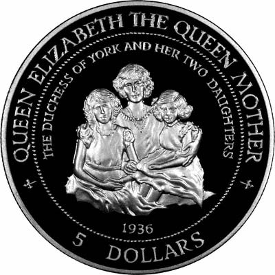 Reverse of 1996 Cook Islands Queen Mother Silver Proof Dollar