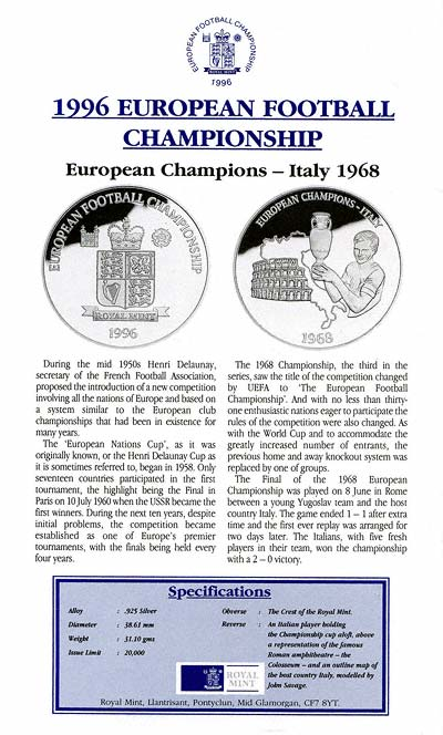 European Football Championship Silver Proof Medallions Certificate