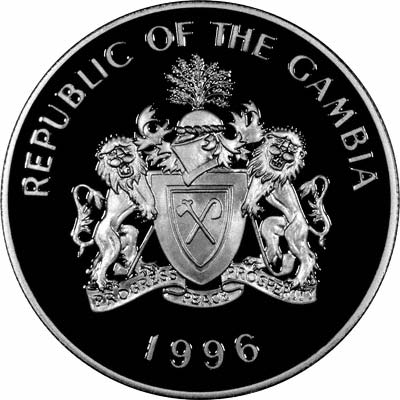 Obverse of 1996 Silver Proof Gambian 10 Dalasis