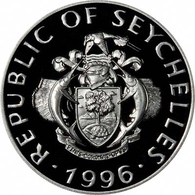 Obverse of 1996 Seychelles Silver 25 Rupees