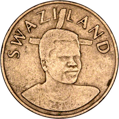 Obverse of 1996 Swaziland 1 Lilangeni
