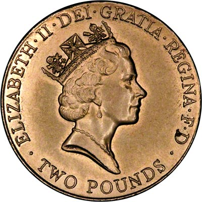 Obverse of 1996 Ordinary Circulation Two Pound Coin