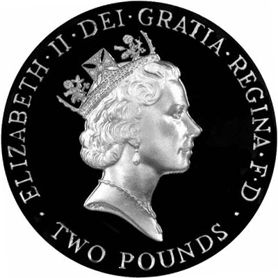 Obverse of 1996 Silver Proof Two Pound Coin