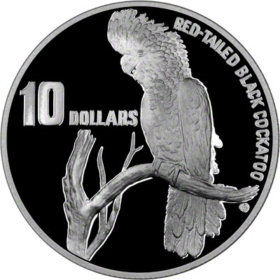 Reverse of 1997 Australia Silver Proof Ten Dollars - Red - Tailed Black Cockatoo