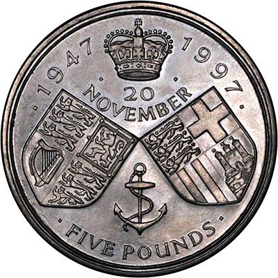1997 Golden Wedding Anniversary 5 Crown Coin