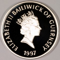 Obverse of 1997 Guernsey Silver Proof Pound
