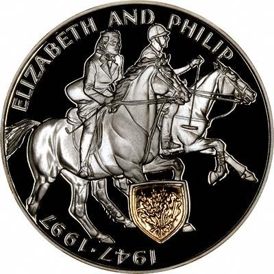 Queen Elizabeth II & Prince Philip on Obverse of Ugandan Silver Proof 2000 Shillings