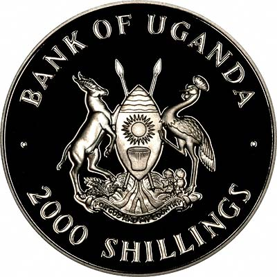 Reverse of 1997 Uganda 2000 Shillings