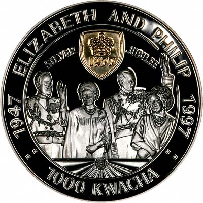 The Queen & Prince Philip on Reverse of 1997 Zambian 1,000 Kwacha