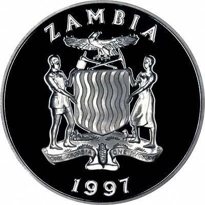Zambian Coat of Arms on Obverse of 1997 Zambian 1,000 Kwacha