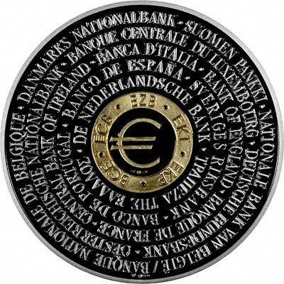Obverse of 1998 ECB Bimetallic Gold & Silver Medallion