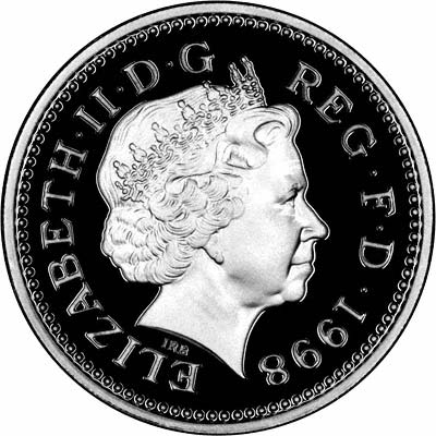 Fourth Portrait on Obverse of 1998 One Pound Coin