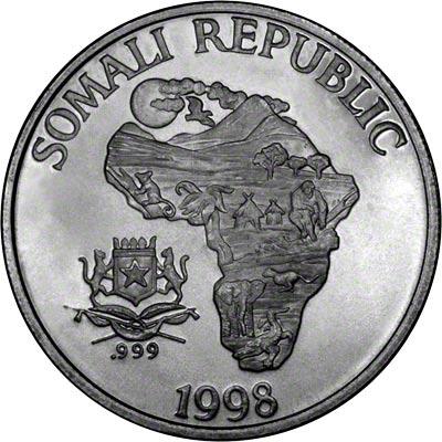 1998 One Ounce Somalian Silver Monkey