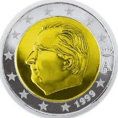 Obverse of Belgian 2 Euro Coin