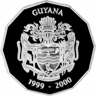 'Obverse of 1999 Guyana Silver 2000 Dollars