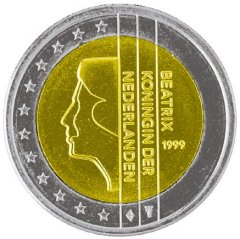 Obverse of Netherlands 2 Euro Coin