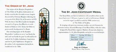 1999 Order of St John Silver Medallion Certificate Reverse
