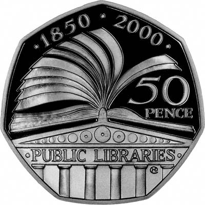 Reverse of 2000 Public Libraries Fifty Pence