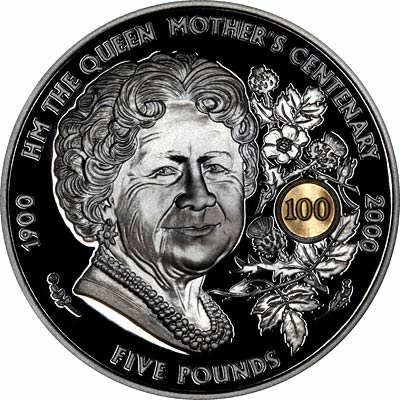Queen Mother of Reverse of 2000 Guernsey Silver Proof £5