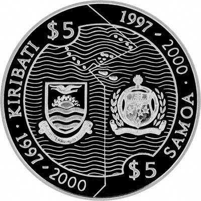 Obverse of 1997 Kiribati 5 Dollars