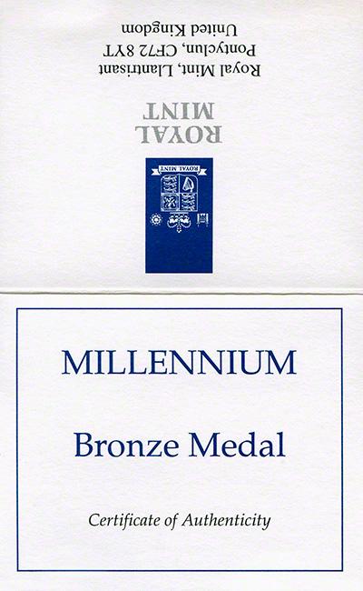 2000 Millennium Bronze Medallion Certificate Obverse