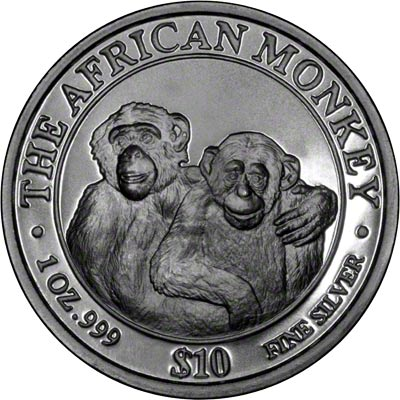 2004 One Ounce Somalian Silver Monkey