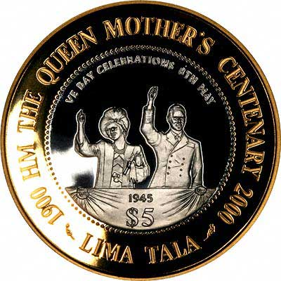 A Scene From the Queen Mother's Life on Reverse of 2000 Tokelau Silver 5 Talas